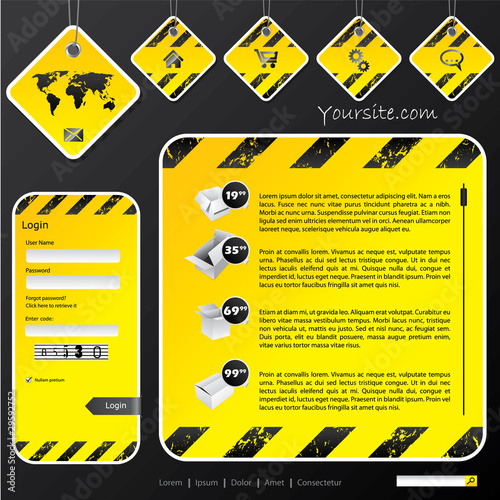 Industrial web template with label signs - Buy this stock vector and