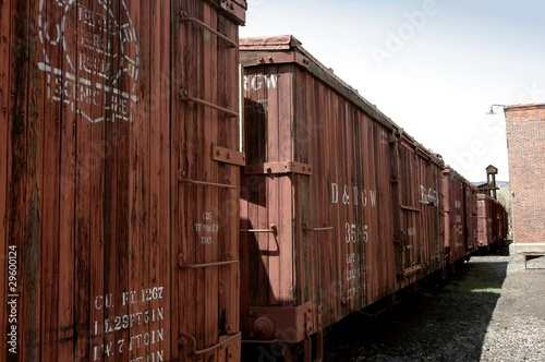 Fotografie, Obraz  Narrow gauge, steam rail, wooden boxcars