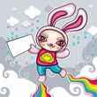 Vector illustration of cute bunny character. Superhero