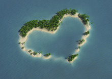3d Computer Image Of An Heart Shape Tropical Island