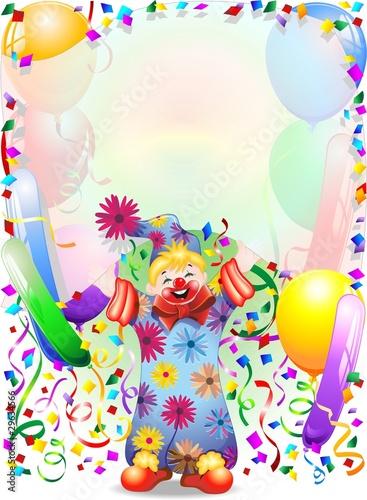 Foto op Canvas Kasteel Pagliaccio Bambino Sfondo-Baby Clown Background-Vector