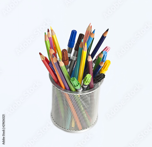 various softpens pencils in metal penholder isolated Fototapet