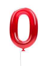 Balloon Number 0 Red