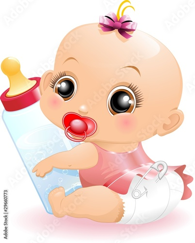 Foto-Rollo - Neonato Bebè con Biberon-Baby with Baby Bottle-2-Vector (von BluedarkArt)