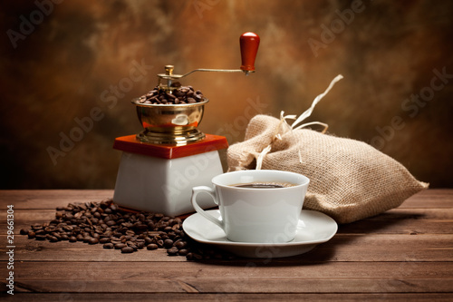 Photo Stands Coffee beans Coffee cup and grinder