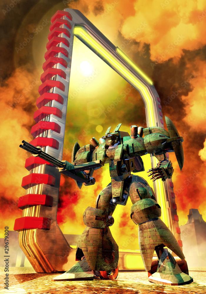 Foto-Lamellen (Lamellen ohne Schiene) - futuristic soldier robo