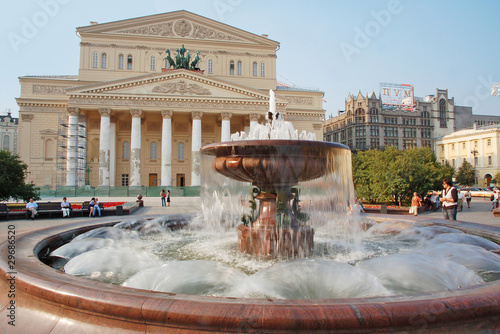 Photo  Fountain in front of  Bolshoi theatre, Moscow, Russia