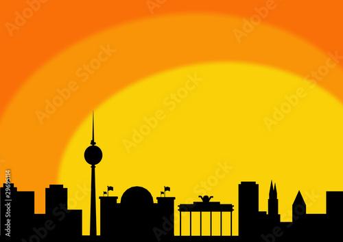 Fototapety, obrazy: Berlin sunrise silhouette