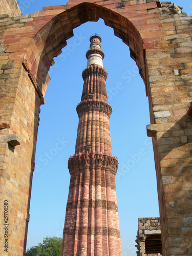Poster Delhi Qutb Minar tower monument in New Delhi, India