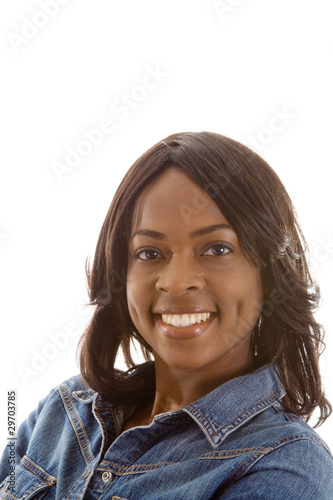 Valokuva  Smiling Black African American Woman Isolated