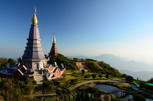 Pagoda On The Top Of Doi Inthanon, Chiang Mai, Thailand.