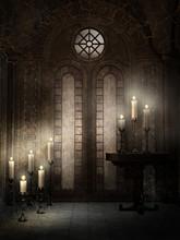 Gotycka świątynia Z Ozdobnymi świecami
