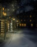Fototapeta Miasto - Wiktoriańskie miasteczko nocą