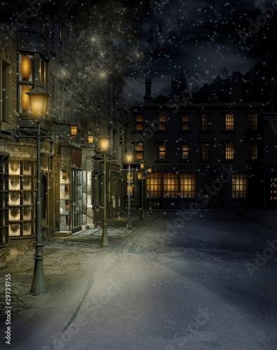 Fototapeta Wiktoriańskie miasteczko nocą obraz