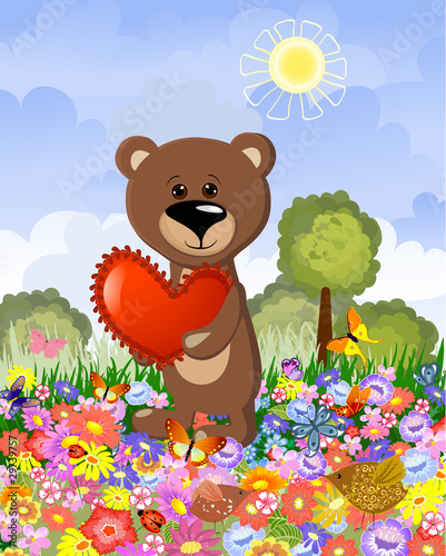 Poster Ours Bear in love on the lawn