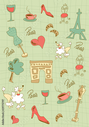Photo sur Toile Doodle Paris icons design.