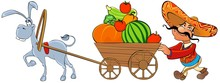 Mexican With A Cart Of Vegetables Pulled By A Donkey.