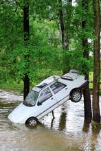 White Car In Water - Big Flash Flood