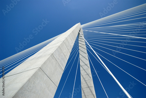 Fotobehang Brug Detail of Arthur Ravenel Bridge in Charleston SC