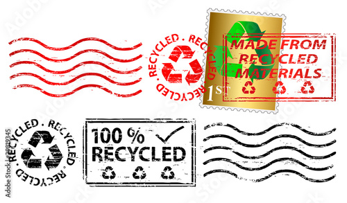 Photographie Recycling letter franking mark and stamp
