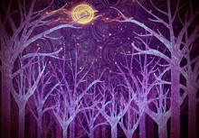 Purple Forest And Full Moon