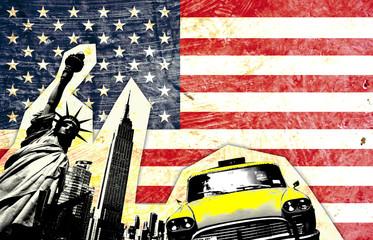 Naklejka drapeau américain avec statue de la liberté taxi jaune