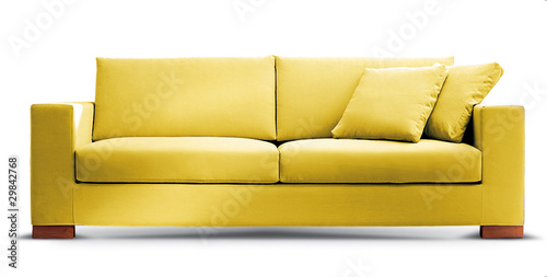 Fotografie, Obraz  yellow isolated couch
