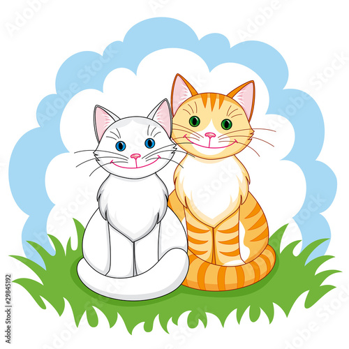 Poster de jardin Chats Cats in love