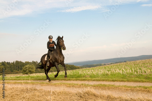 Fotografie, Tablou Rider rides at a gallop across the field.