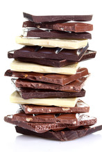 Stack Of Black, Brown And White Chocolate