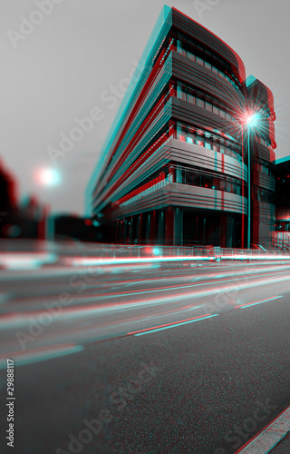 3D anaglyph of office building Wallpaper Mural