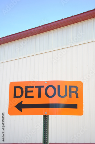 Fotografie, Obraz  Orange Detour Sign