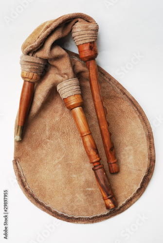 Photo bagpipe from Scotland over white