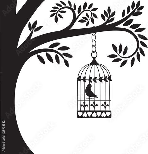 Fotografie, Obraz  bird cage and tree