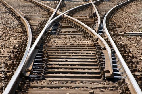 Foto auf Leinwand Eisenbahnschienen drei wege