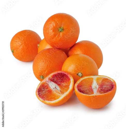 Canvas Prints Fruits blood oranges on a white background (whole and pieces)