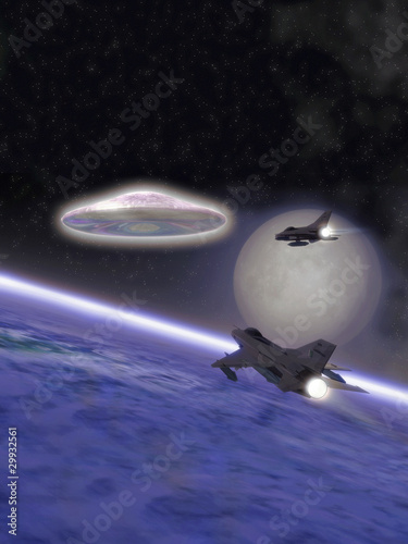 Foto op Canvas UFO ufo alien interceptor fighter