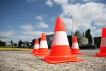 Orange Cones In A Urban Environment