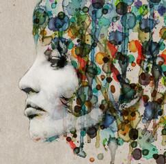 fototapeta akwarela żeński profil