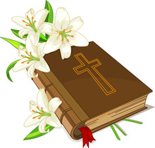 Bible And Lily Flowers