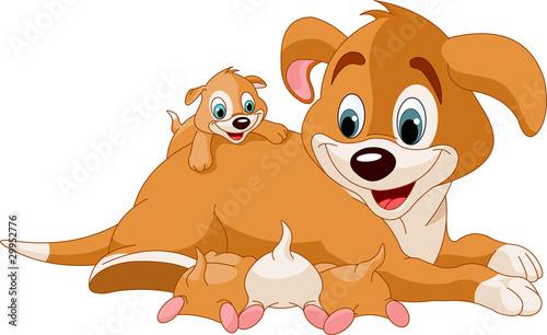Printed kitchen splashbacks Fairytale World Mother dog nursing cute puppies