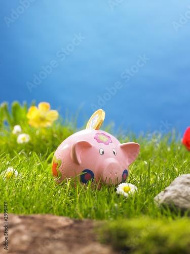 Leinwanddruck Bild - AR : Sparschwein