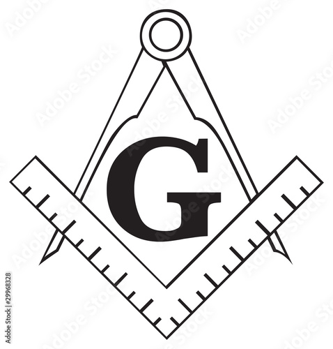 Fényképezés  The Masonic Square and Compass symbol, freemason