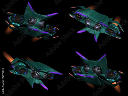 Foto op Canvas Kosmos Four front views of an alien space ship on a black background