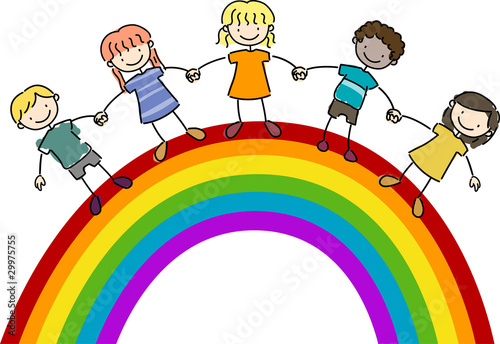 Foto op Canvas Regenboog Kids Standing on Top of a Rainbow