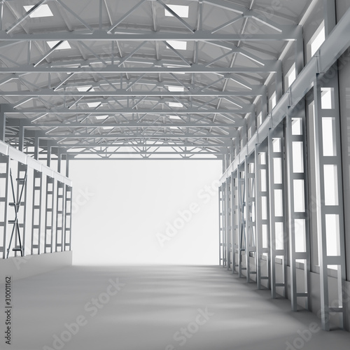 tunnel-with-metallic-columns-and-light-on-the-way-ahead