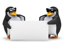 3d Penguins Hold Up A Blank Si...