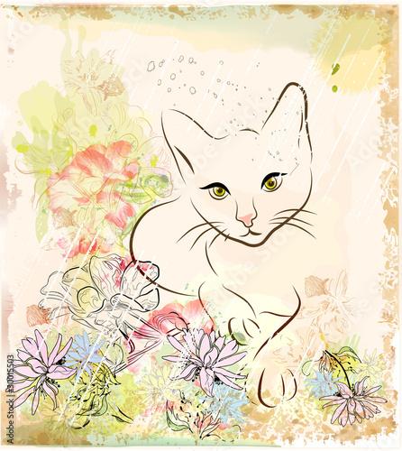 streszczenie-tlo-z-kotem-kwiaty