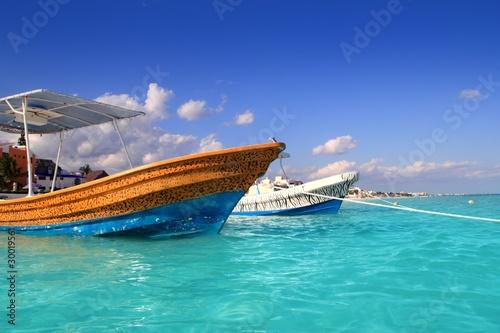 Foto op Plexiglas Caraïben Puerto Morelos beach boats turquoise caribbean