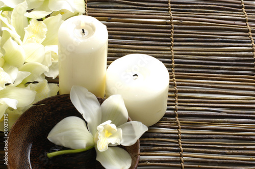 Foto auf Gartenposter Spa spa concept with orchid and candles